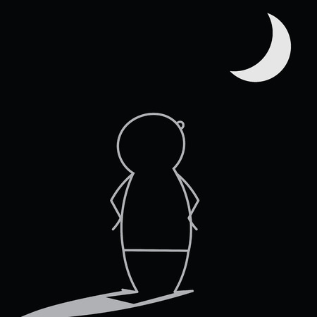 man in the moon: Doodle man contemplating the moon