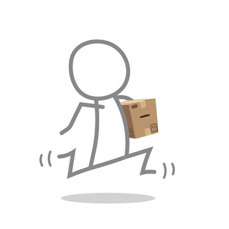 delivering: Doodle postman delivering a parcel. Stock Photo