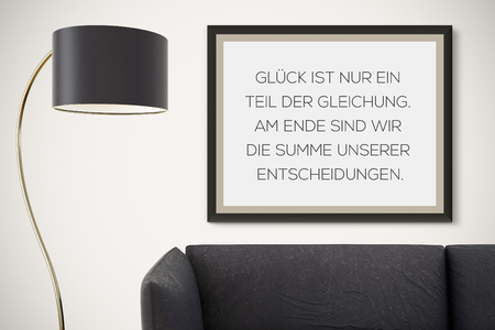 positive note: Inspirational motivating quote on picture frame.