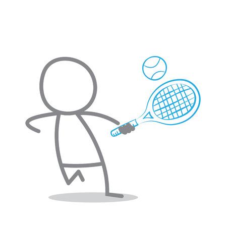 garabatos: Ilustraci�n del Doodle del jugador de tenis Foto de archivo