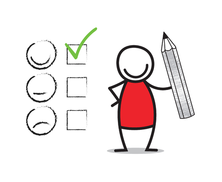 feedback form: Customer satisfaction concept. Doodle man holding a pencil.