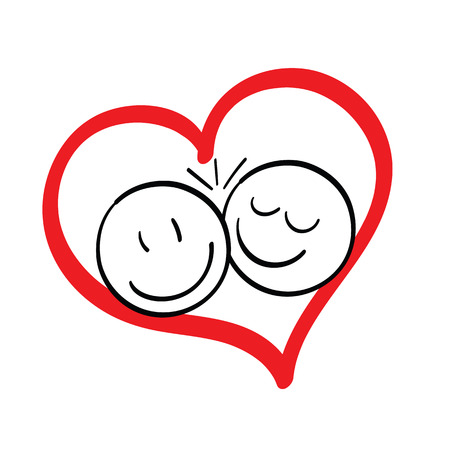 Doodle couple over a red heart. Stock Photo