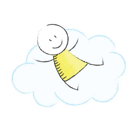 fantasize: Doodle boy sitting on a cloud Stock Photo