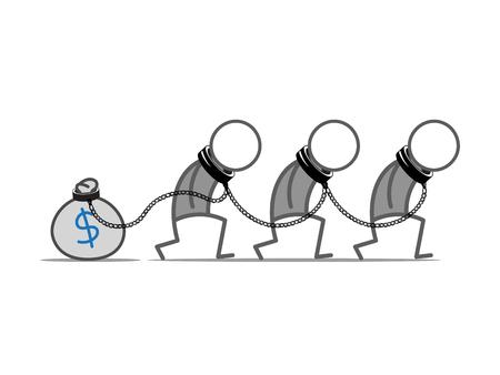 slaves: Three slaves tied to money bag. Stock Photo