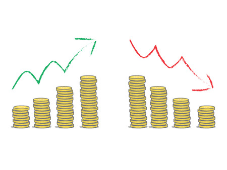 liabilities: Coins stacks with green and red arrows. Stock Photo