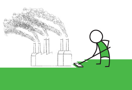 heavily: Man cleans up a heavily polluted environment