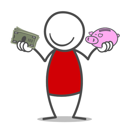 scrawl: Doodle man holding bills and piggy-bank in his hands