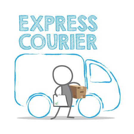 delivering: Postman delivering a parcel.