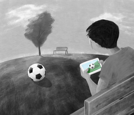 bore: Augmented Reality Concept. A boy looking at his smartphone. Digital Painting.