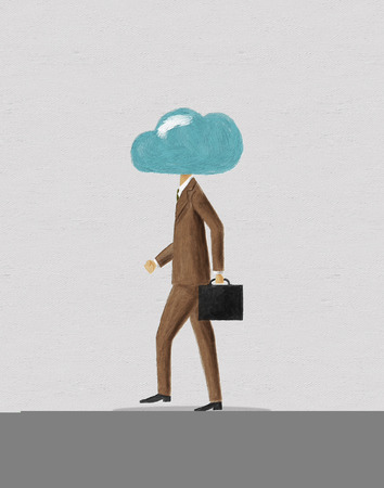 interaction: Businessman with cloud head. Digital painting.