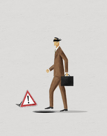 approaching: Blindfold businessman approaching to a hole. Digital painting.