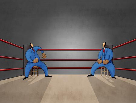 pugilist: Businessmen sitting on boxing ring.