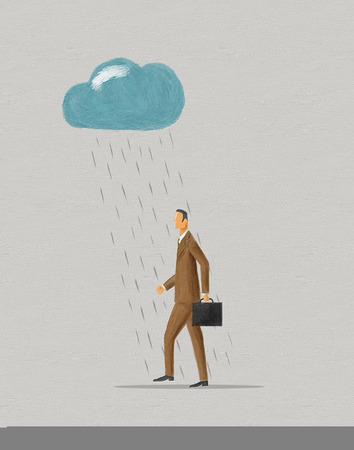 pessimist: Businessman walking under raincloud. Digital painting.