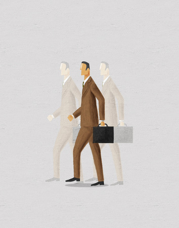 the spectre: Businessman with ghosts of business past and future. Digital painting.