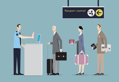 passaporto: Chi viaggia in aereo in coda al controllo passaporti di frontiera. Vettoriali