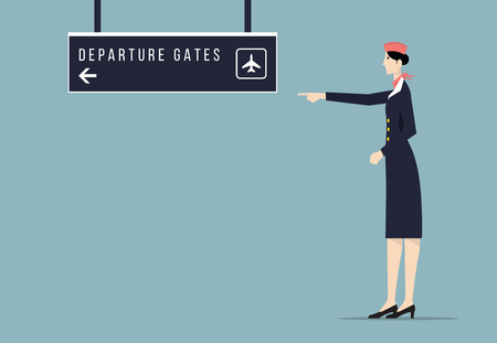 departure board: Air hostess indicates departure gate sign board.