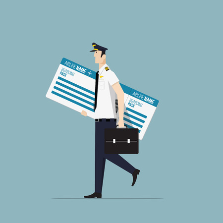 aircrew: Airline Pilot Carrying a Big Boarding Pass. Illustration
