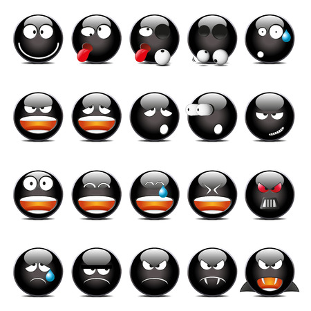 moods: Set of Black Shine Glass Icons In Different Emotions And Moods.