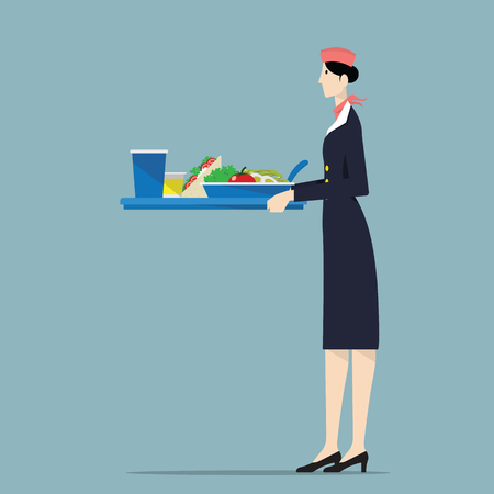 airline hostess: Airline hostess holding a tray. Illustration