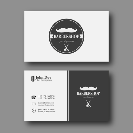 elegant template: Abstract Elegant Barber Shop Business Card Template. Illustration