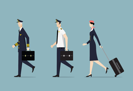 Airline Captain, First officer and Hostess. Illustration