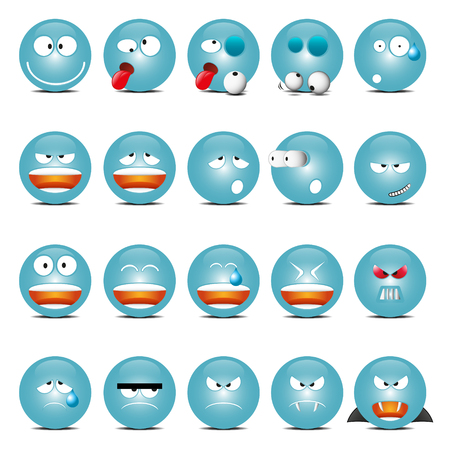 moods: Set of Blue Shine Glass Icons In Different Emotions And Moods.