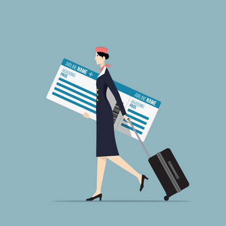 airline hostess: Airline Hostess Carrying a Big Boarding Pass.