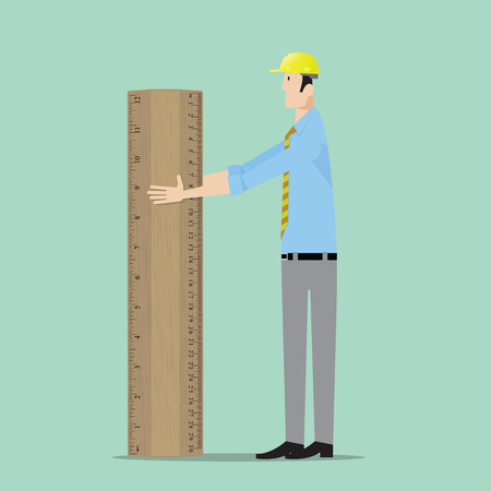 civil construction: Architect with big wooden ruler.