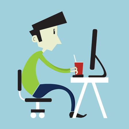 computer mascot: Young boy sitting at computer. Flat vector style illustration.