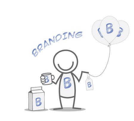 garabatos: Branding identidad de concepto - hombre Doodle con los productos de marca
