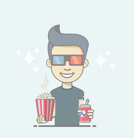 3D glasses: Boy wearing 3D glasses holding coke and popcorn box. Illustration