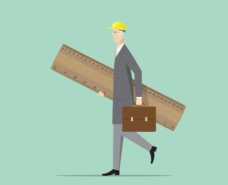 construction projects: Architect carrying a big wooden ruler. Illustration