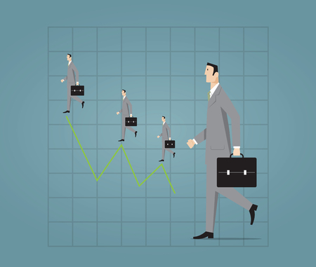 gain: Businessman walking with profit chart.