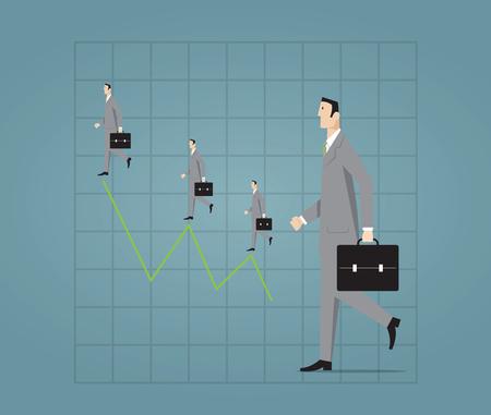 Businessman walking with profit chart.