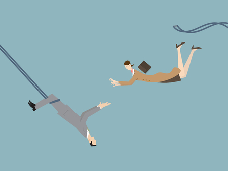 A funny illustration of a businessman catching a flying businesswoman as a trapeze artist.