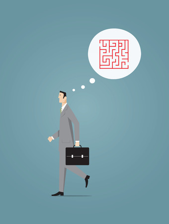 businessman walking: Businessman walking with thought bubble. Illustration