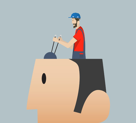 big head: Illustration of a male worker with helmet driving a big head.
