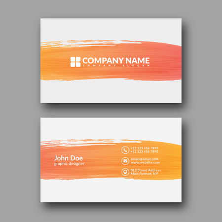 pattern corporate identity orange: Abstract Paint Brush Business Card Template. Illustration