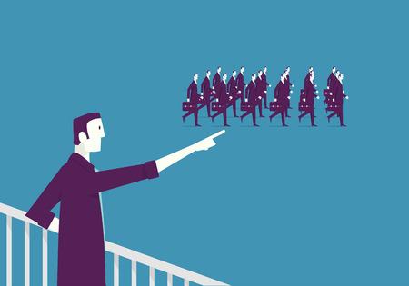 motivating: Head of sales department motivating his sales team. Illustration