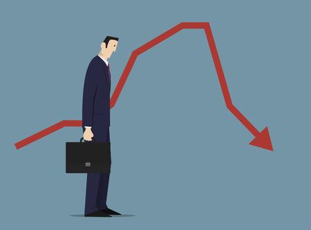 sad businessman: Sad businessman standing near sales chart.