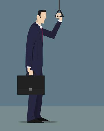 monotony: Sleepy businessman holding a handle strap. Illustration