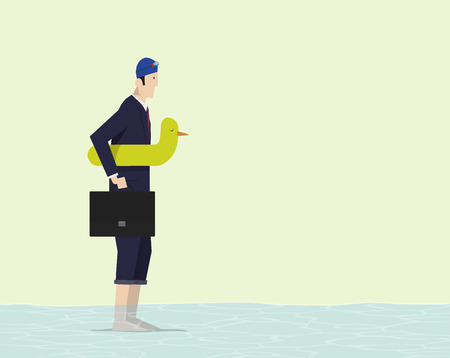 precautionary: Businessman with duck lifesaver dipping his foot into water.