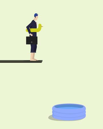 kiddie: Businessman standing on springboard beside kiddie pool with inflatable toy duck.