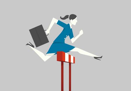 steeplechase: Businesswoman jumping over hurdle. Illustration