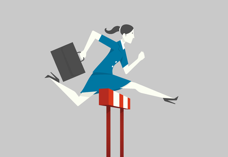 Businesswoman jumping over hurdle. Illustration