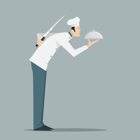 serving tray: Side view of chef with serving tray and knife. Illustration