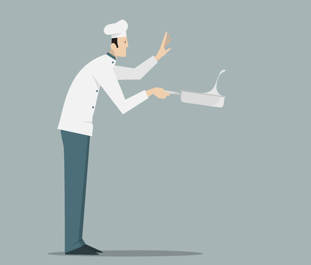Side view of chef tossing food in frying pan. Illustration