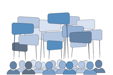 engagements: Community Concept - people talking: vector illustration Illustration
