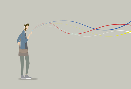 transported: Young man holding phone with colorful abstract lines. The lines represent streaming data whether transported via the Internet, wireless technology or networks. Illustration