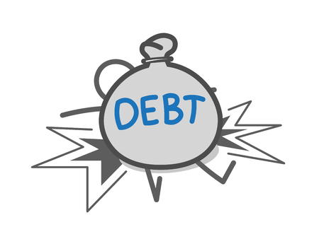 indebted: Man crushed by debts Illustration